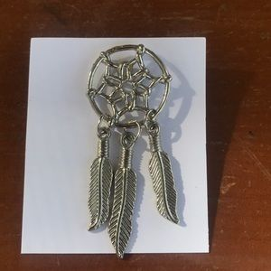 Silvertone Dream Catcher pin Feathers